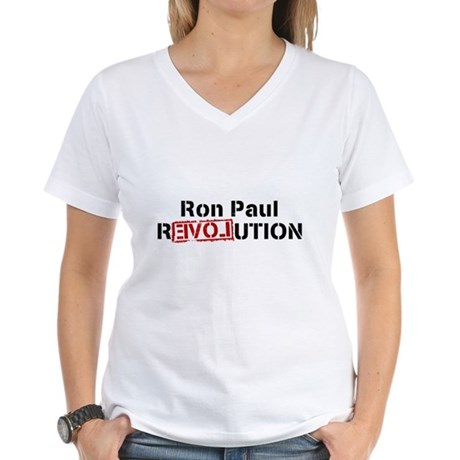 Ron Paul Revolution Womens V-Neck T-Shirt