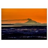 The city of Anchorage Alaska at sunset with Mount