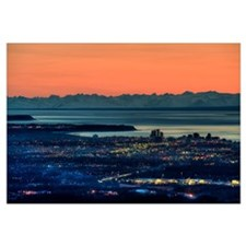The city of Anchorage Alaska at sunset with Cook I
