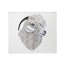 Angora Goat Portrait Throw Blanket