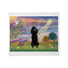 Cloud Angel Black Poodle (ST) Throw Blanket