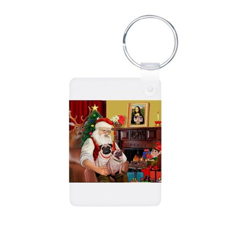 Santa's fawn Pug pair Aluminum Photo Keychain