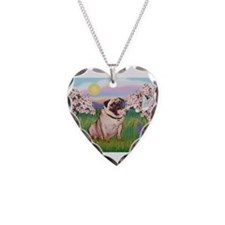 Spring Blossoms & Fawn Pug Necklace