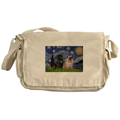 Starry Night Pug Pair Messenger Bag