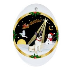 Night Flight/Rat Terrier Ornament (Oval)