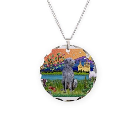 Deerhound in Fantasy Land Necklace Circle Charm