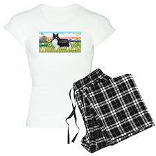 Summer Field / Sheltie pajamas