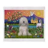 Tibetan Terrier in Fantasy La Throw Blanket