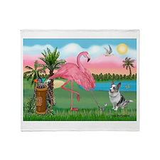 Golfing Flamingo & Corgi Throw Blanket