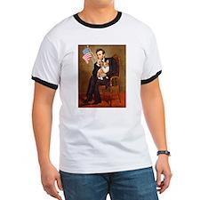 Lincoln & his Corgi (Pem) T