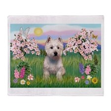 Blossoms & Westie Throw Blanket