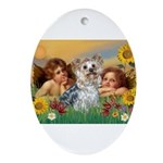 Angels with Yorkie Ornament (Oval)