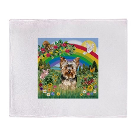 Rainbow/Yorkie (#7) Throw Blanket