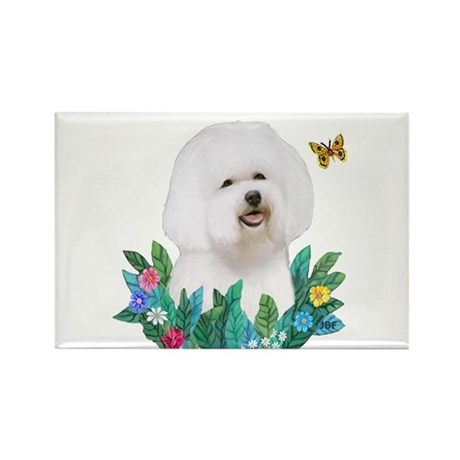 Leaves #1B - Bichon Frise Rectangle Magnet