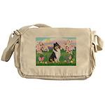 Blossoms / Collie (tri) Messenger Bag