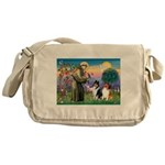St Francis / Collie Pair Messenger Bag