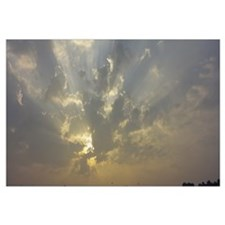 Low angle view of sun shinning behind cloud, Luxem