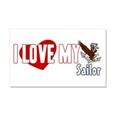 I Love My Sailor Car Magnet 20 x 12