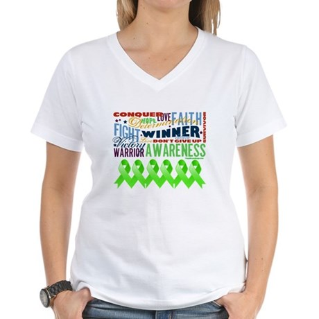 Empowering Lymphoma Women's V-Neck T-Shirt