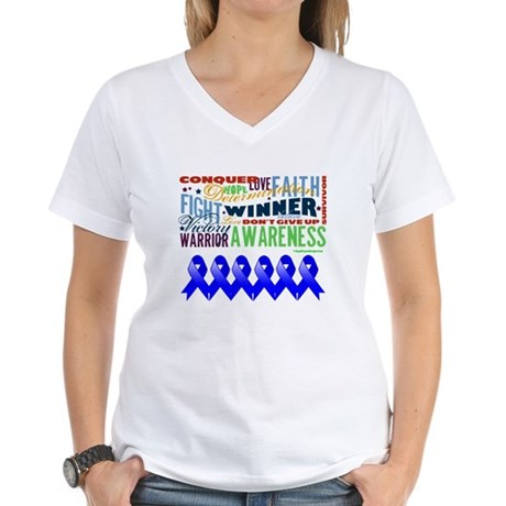 Empowering Colon Cancer Women's V-Neck T-Shirt