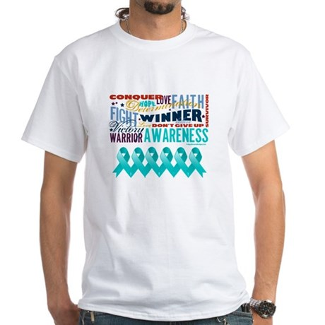 Empowering Ovarian Cancer White T-Shirt