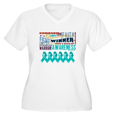 Empowering Ovarian Cancer Women's Plus Size V-Neck