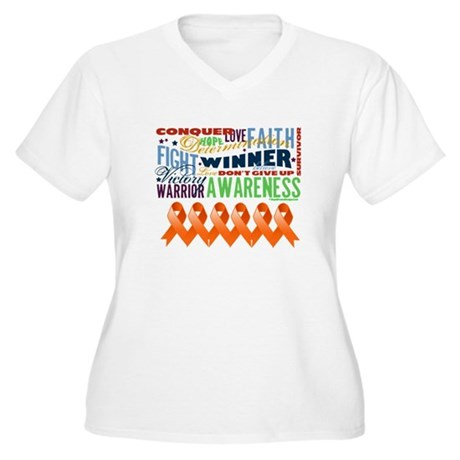 Empowering Leukemia Women's Plus Size V-Neck T-Shi
