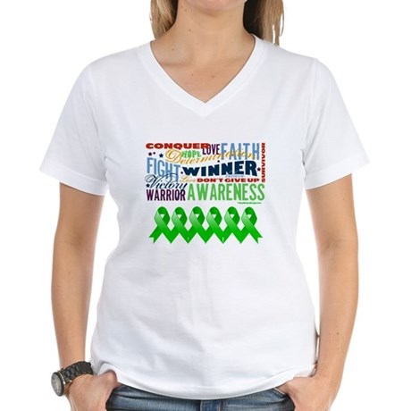 Powerful Bile Duct Cancer Women's V-Neck T-Shirt