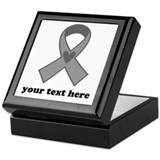 Personalized Gray Ribbon Keepsake Box