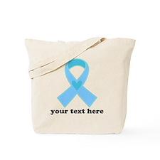 Personalized Light Blue Ribbon Tote Bag