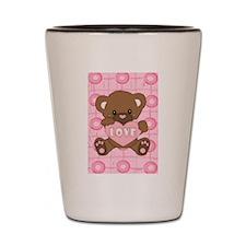 Cute pink valentine teddy Shot Glass