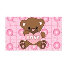 Cute pink valentine teddy 38.5 x 24.5 Wall Peel