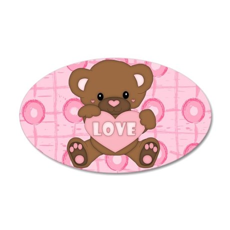 Cute pink valentine teddy 22x14 Oval Wall Peel
