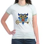 Owl on Skeleton Key Jr. Ringer T-Shirt