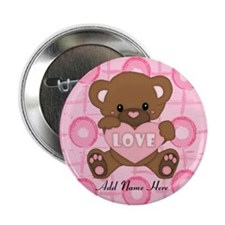 "Personalized Cute pink valent 2.25"" Button (100 pa"