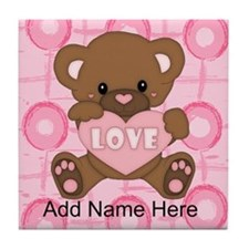 Personalized Cute pink valent Tile Coaster