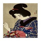 Woman Sewing Tile Coaster
