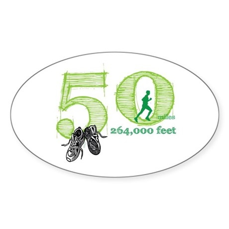 50 Mile Ultra Marathon Men Sticker (Oval)