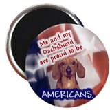 "Patriotic Dachshund (Red, Smooth) 2.25"" Magnet (10"