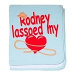 Rodney Lassoed My Heart baby blanket