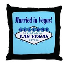 Blue Married in Vegas! Throw Pillow