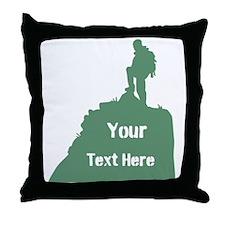 Hiking Climbing. Custom Text. Throw Pillow
