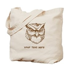 Owl. Custom Text. Tote Bag