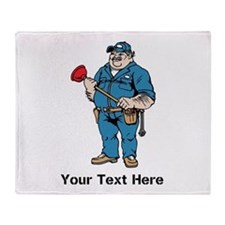 Plumber. Your Text. Throw Blanket