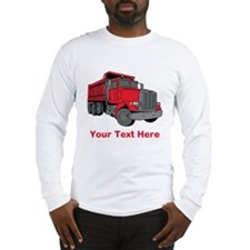 Big Red Truck with Text. Long Sleeve T-Shirt