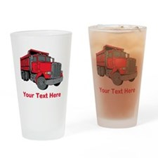 Big Red Truck with Text. Drinking Glass