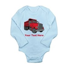 Big Red Truck with Text. Long Sleeve Infant Bodysu