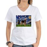Starry Night - Airedale #6 Women's V-Neck T-Shirt