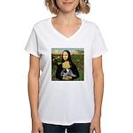 MonaLisa-AussieCattle Pup Women's V-Neck T-Shirt