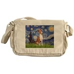 Starry Night & Basenji Messenger Bag